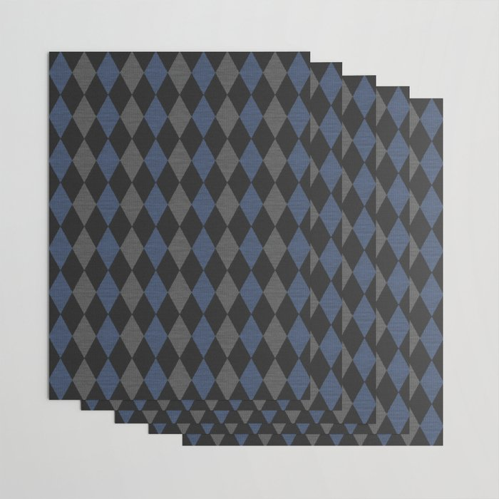 Blue Gray Rhombus Knitted Weaving Wrapping Paper