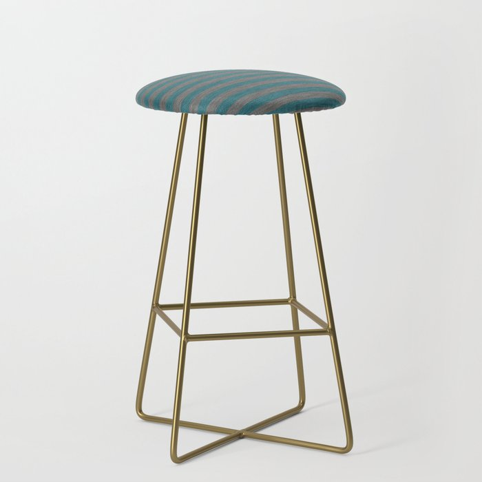 Blue Gray Striped Knitted Weaving Bar Stool