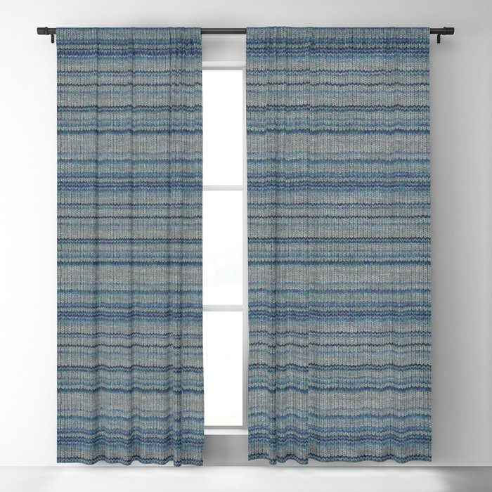 Blue Gray Striped Knitted Weaving Blackout Curtain