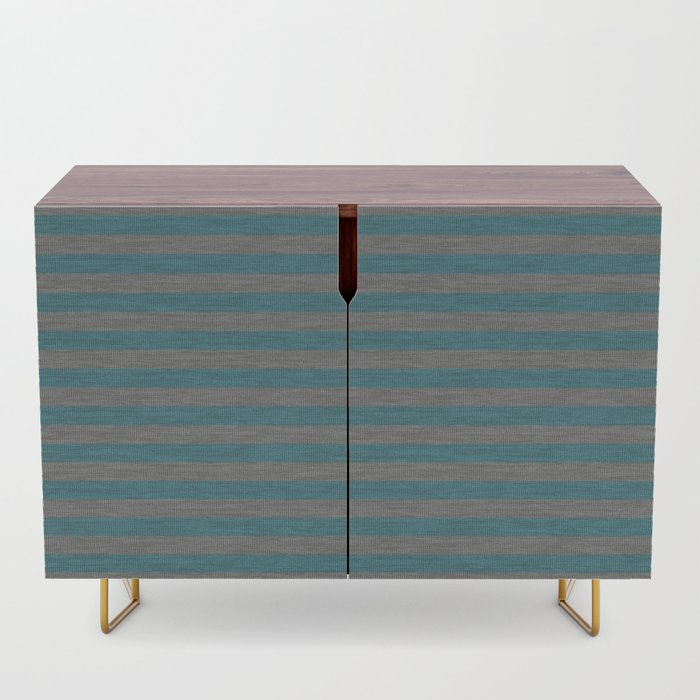 Blue Gray Striped Knitted Weaving Credenza