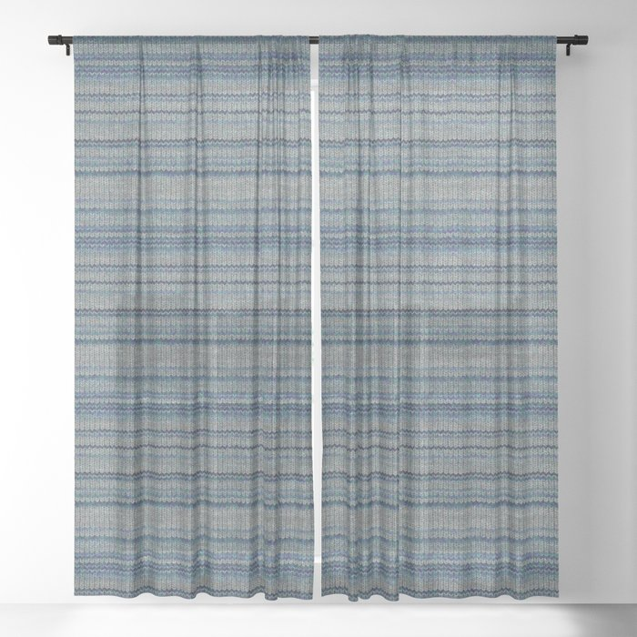 Blue Gray Striped Knitted Weaving Sheer Curtain