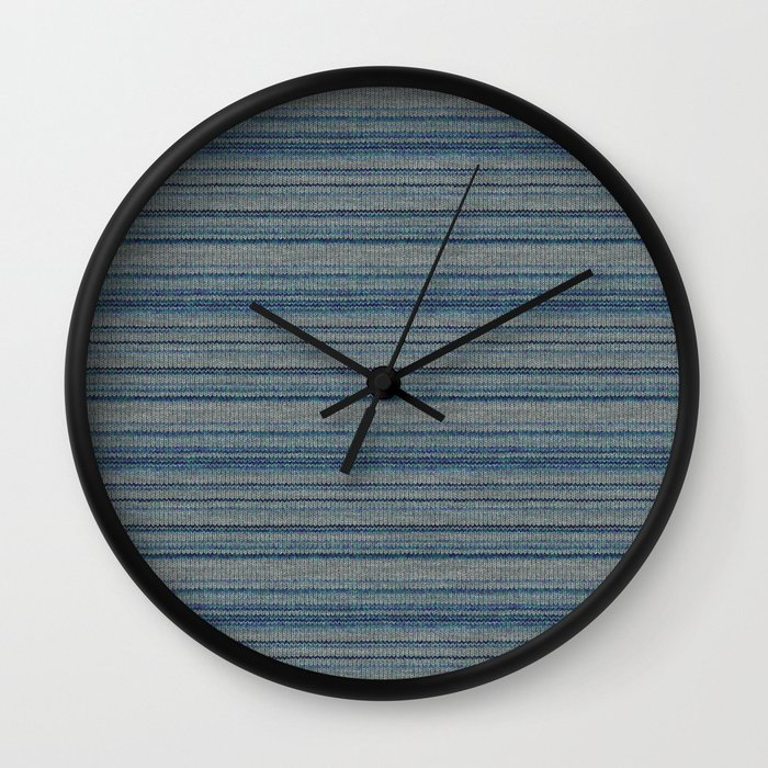 Blue Gray Striped Knitted Weaving Wall Clock