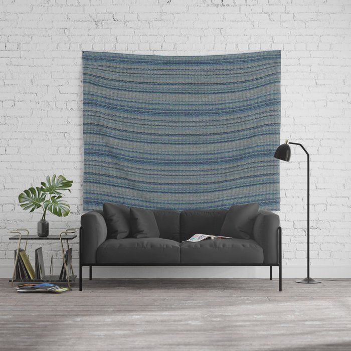 Blue Gray Striped Knitted Weaving Wall Tapestry
