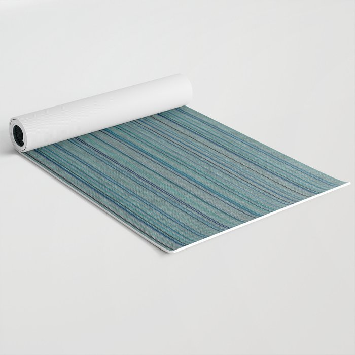 Blue Striped Knitted Weaving Yoga Mat