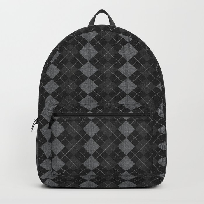 Gray Checkered Knitted Weaving Backpack