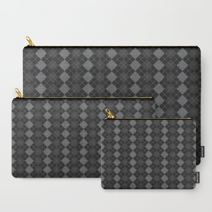 Gray Checkered Knitted Weaving Carry All Pouch