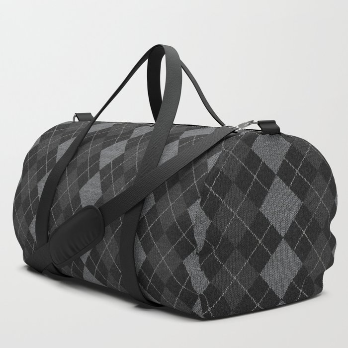 Gray Checkered Knitted Weaving Duffle Bag