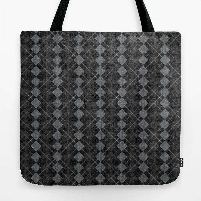 Gray Checkered Knitted Weaving Tote Bag
