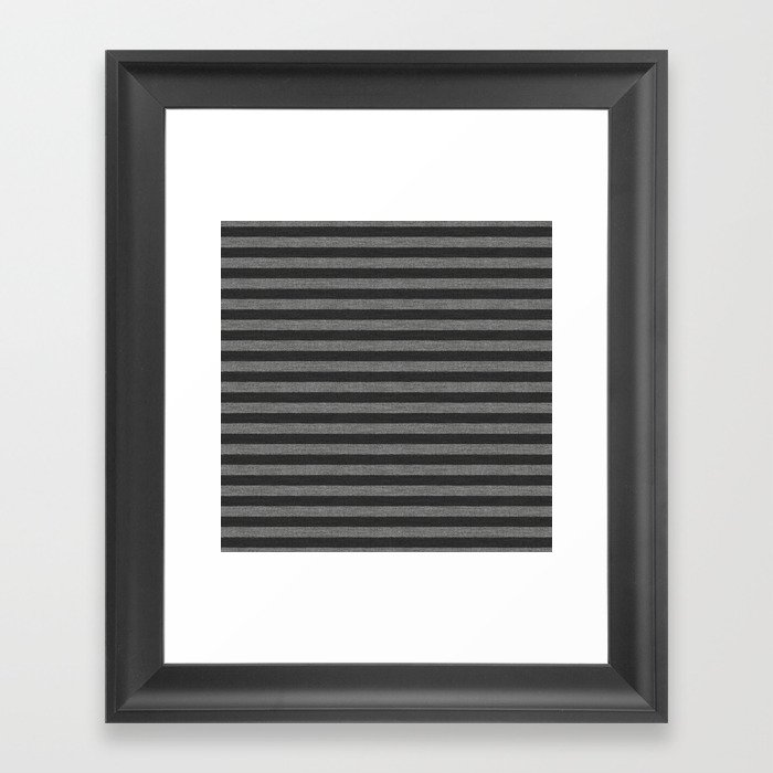 Gray Striped Knitted Weaving Framed Art Print
