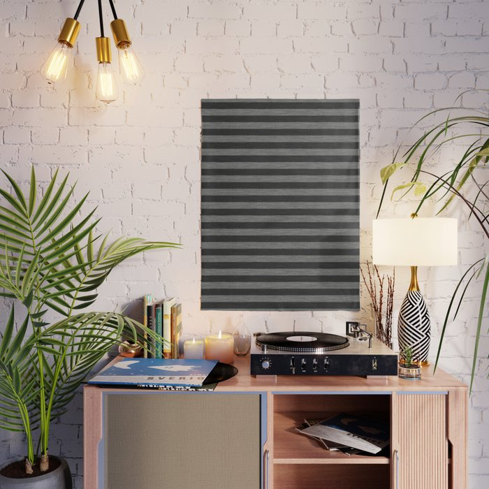 Gray Striped Knitted Weaving Poster