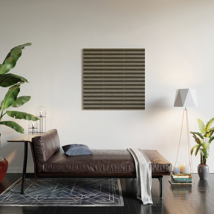 Gray Striped Knitted Weaving Wood Wall Art