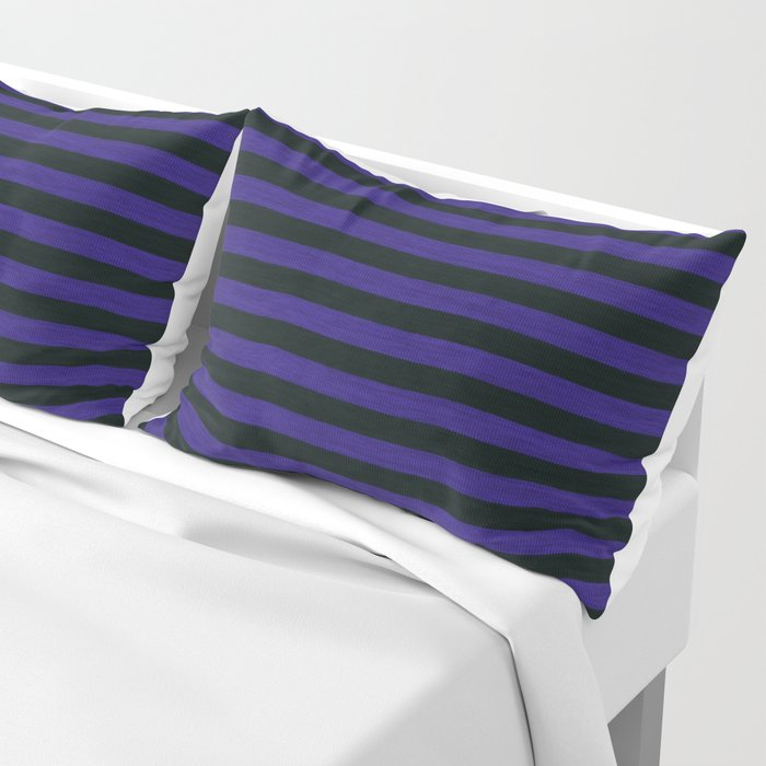 Purple Black Striped Knitted Weaving Pillow Sham