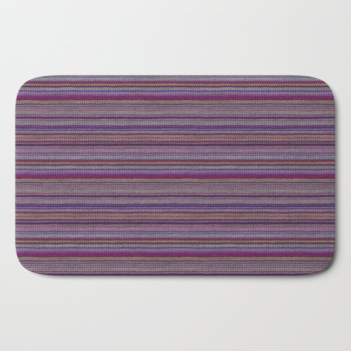 Purple Lilac Striped Knitted Weaving Bath Mat
