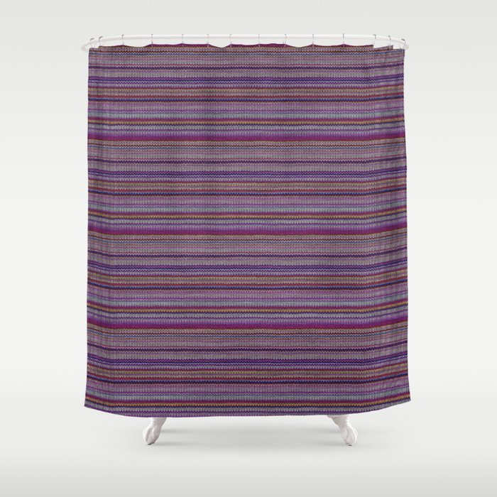 Purple Lilac Striped Knitted Weaving Shower Curtain