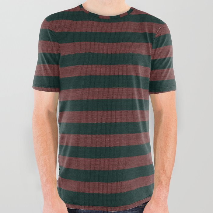 Red Dark Green Striped Knitted Weaving All Over Graphic Tee