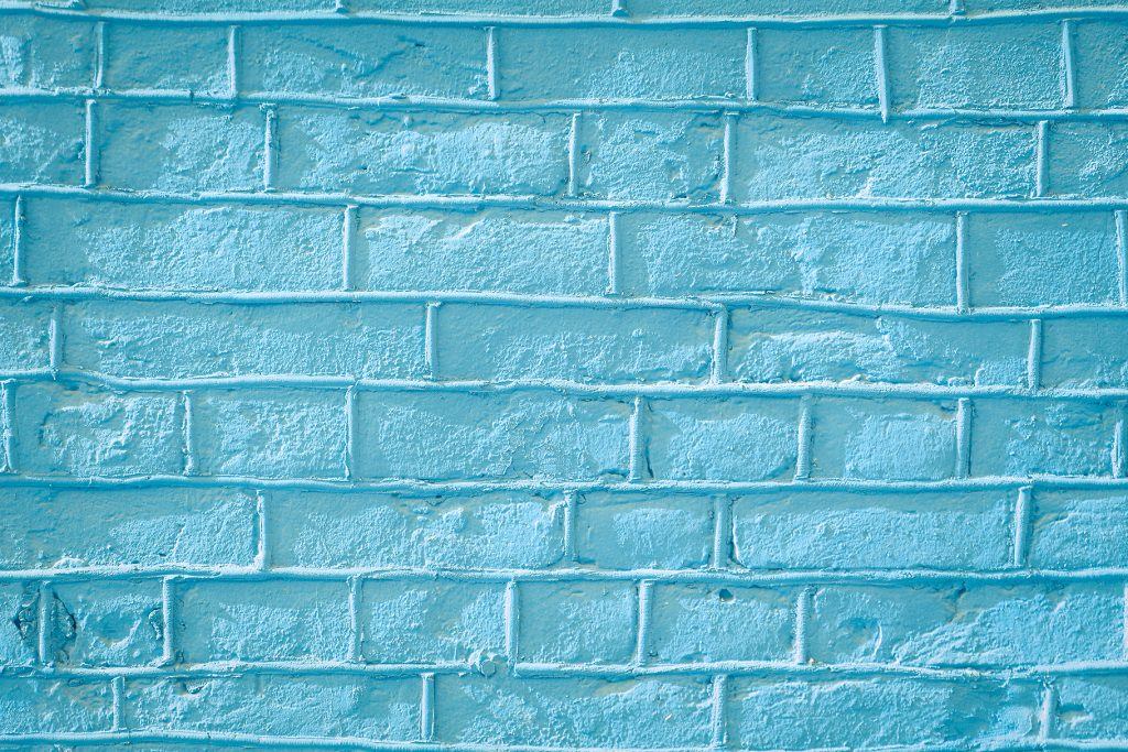 Blue bricks wall texture. Concrete blocks wall background.
