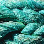 Big fat blue mooring rope texture. Nautical marine background.