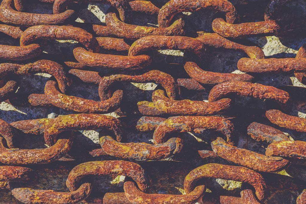 Old rusty chains texture. Nautical marine background.