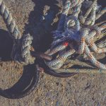 Iron mooring rings. Lots of rope knots leading to moored boats. Concrete pier surface.