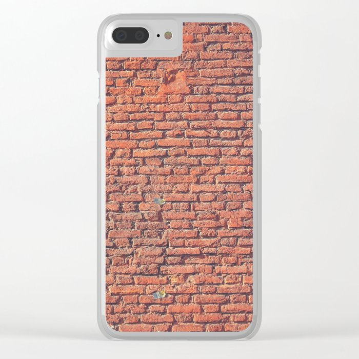Red Brick Wall Texture Clear iPhone Case