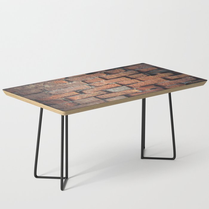 Weathered Red Brick Wall Texture Coffee Table