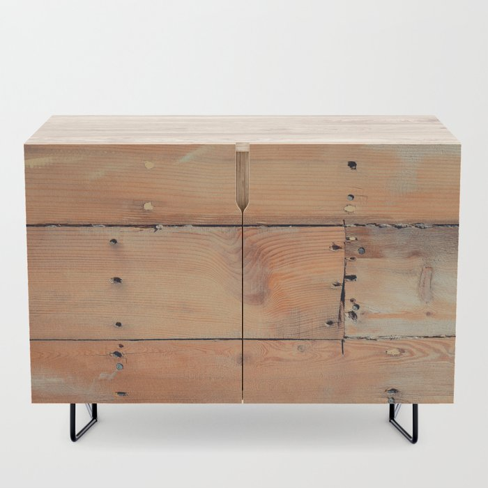 Wooden Shipboard with Nails and Screws Credenza