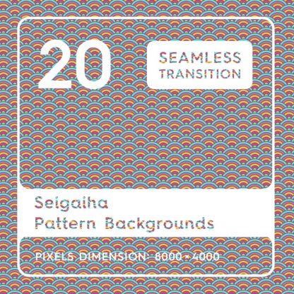 20 Seigaiha Background Textures. Seamless Pattern.