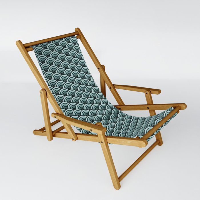 Deep Sea Green Blue Seigaiha Sling Chair-1
