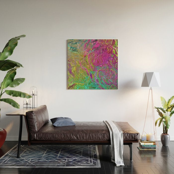 Holographic Gradient Wood Wall Art