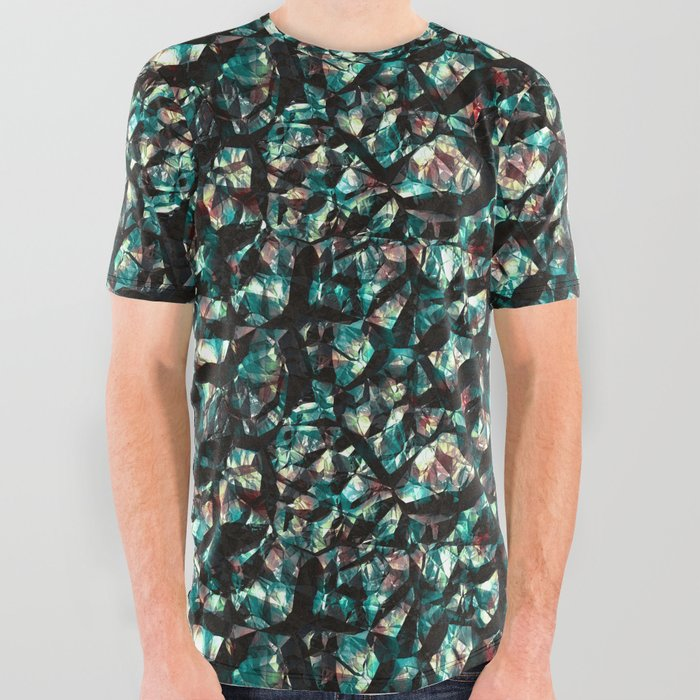 Black blue gemstones wall All Over Graphic Tee