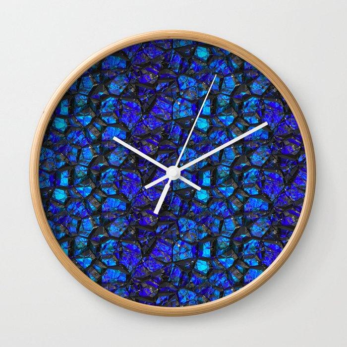 Blue black gemstones Wall Clock