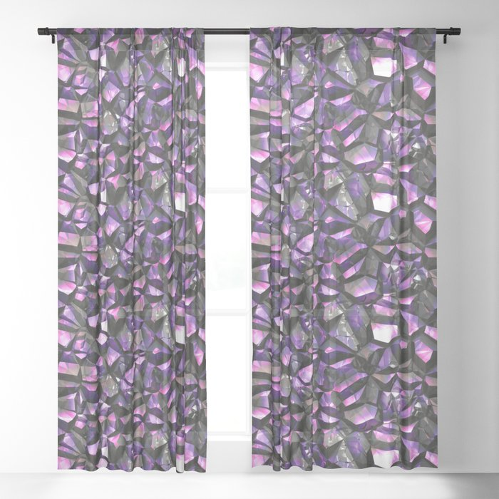 Lilac Black Crystal Gem Wall Sheer Curtains