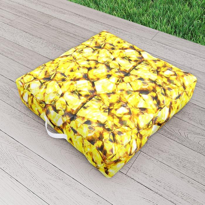 Yellow crystal gems Outdoor Floor Cushion