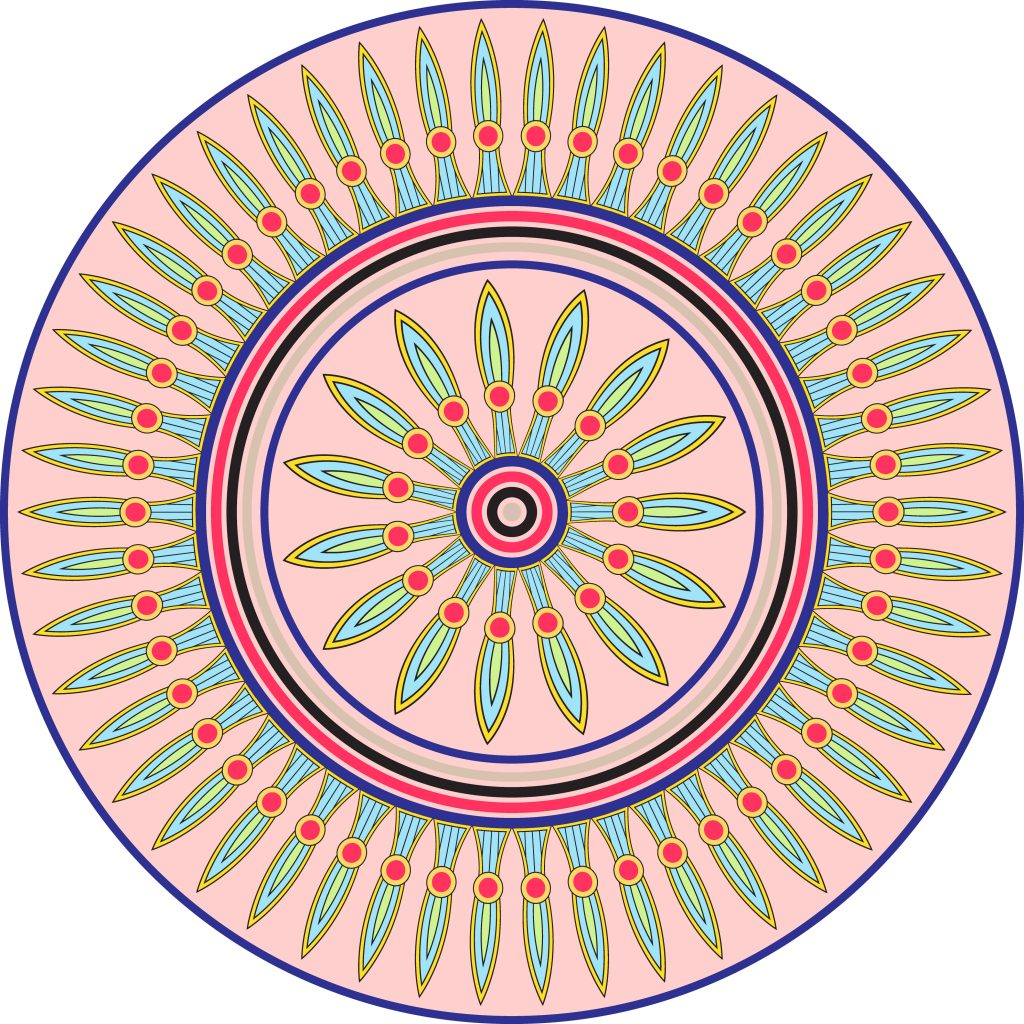 Pink Green Egypt Circle Ornament. National Culture Decorative Ring Artwork.