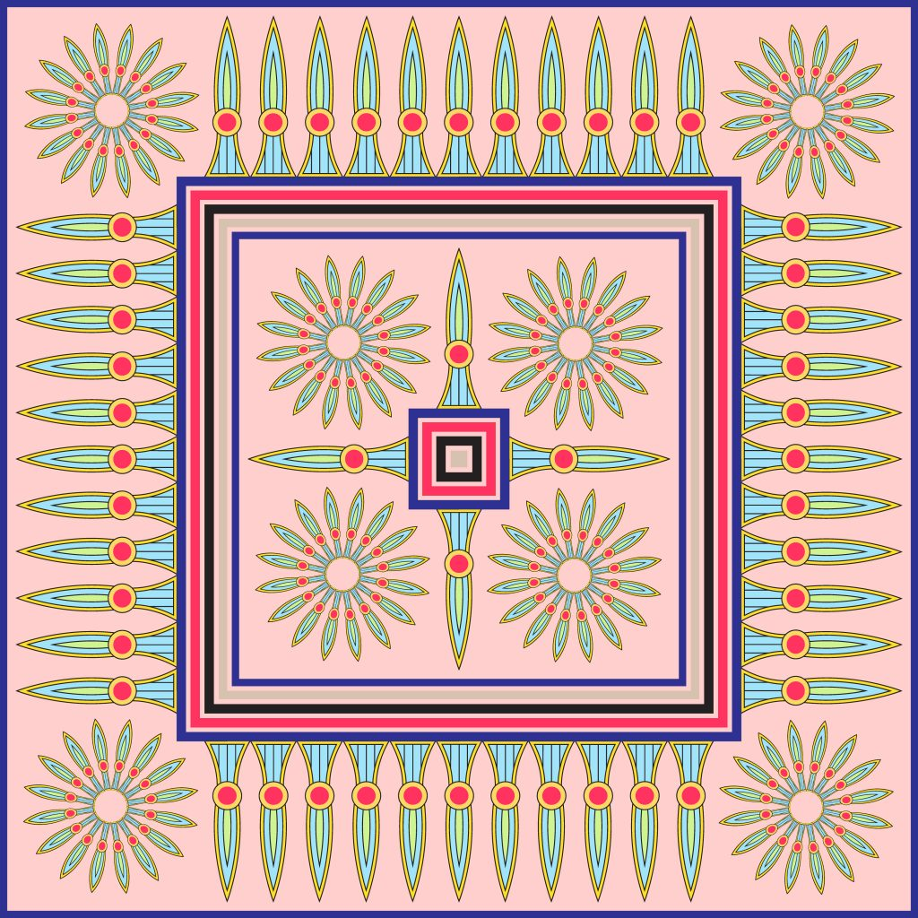 Pink Green Egypt Square Ornament. National Culture Decorative Foursquare Artwork.