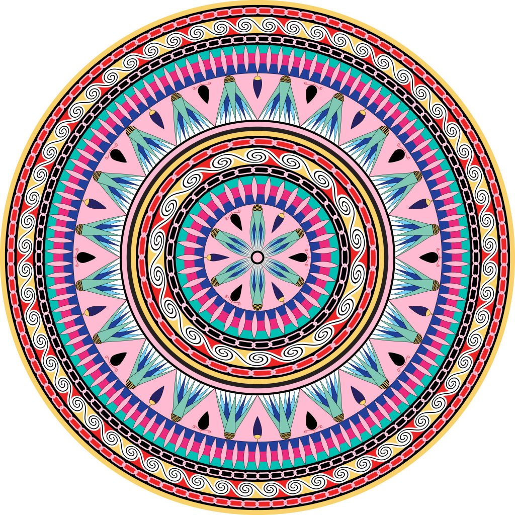 Pink Blue Purple Egypt Circle Ornament. National Culture Decorative Ring Artwork.
