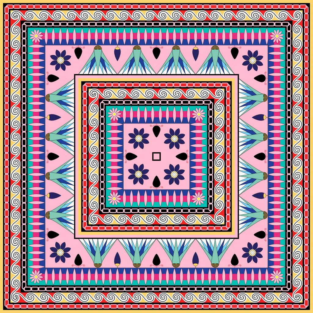 Pink Blue Purple Egypt Square Ornament. National Culture Decorative Foursquare Artwork.