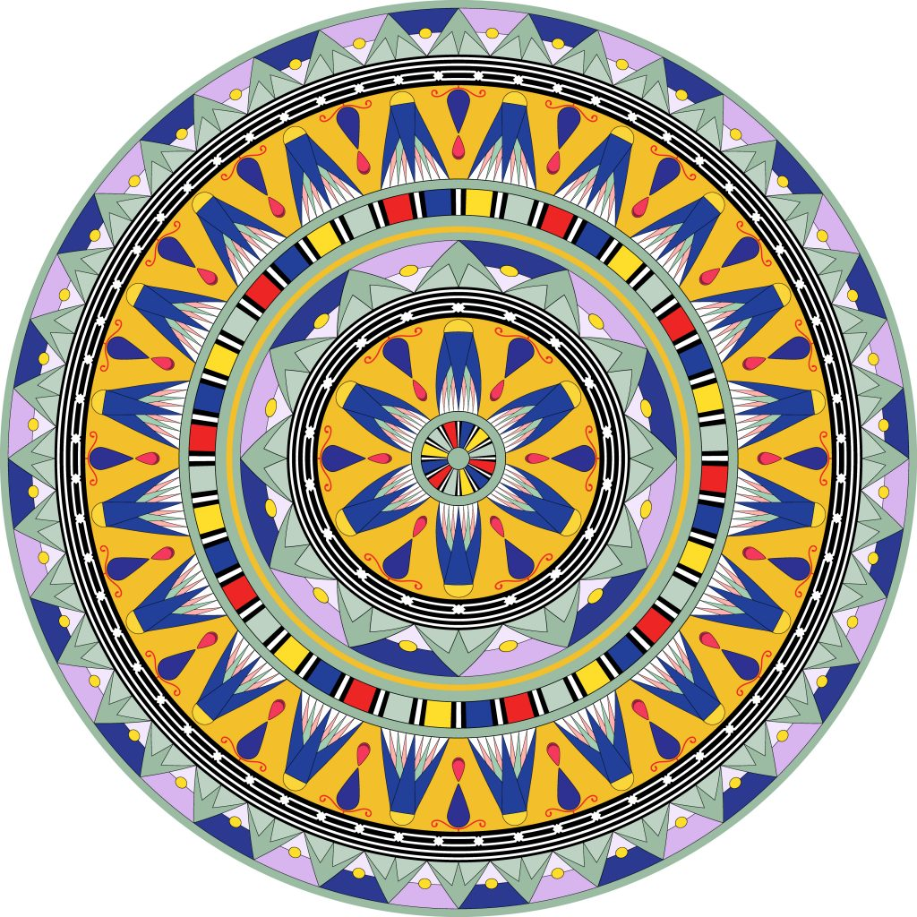 Yellow Blue Egypt Circle Ornament. National Culture Decorative Ring Artwork.