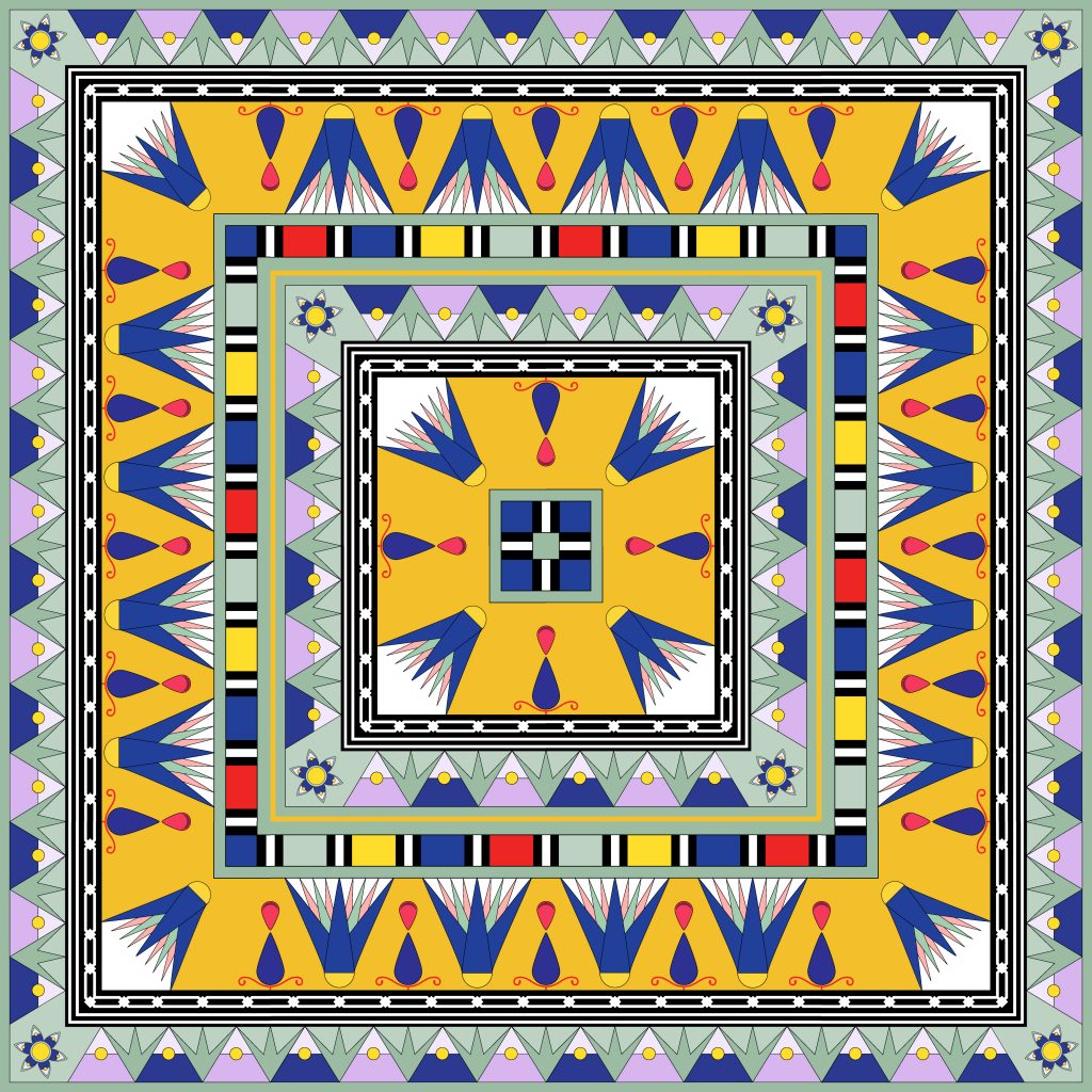 Yellow Blue Egypt Square Ornament. National Culture Decorative Foursquare Artwork.