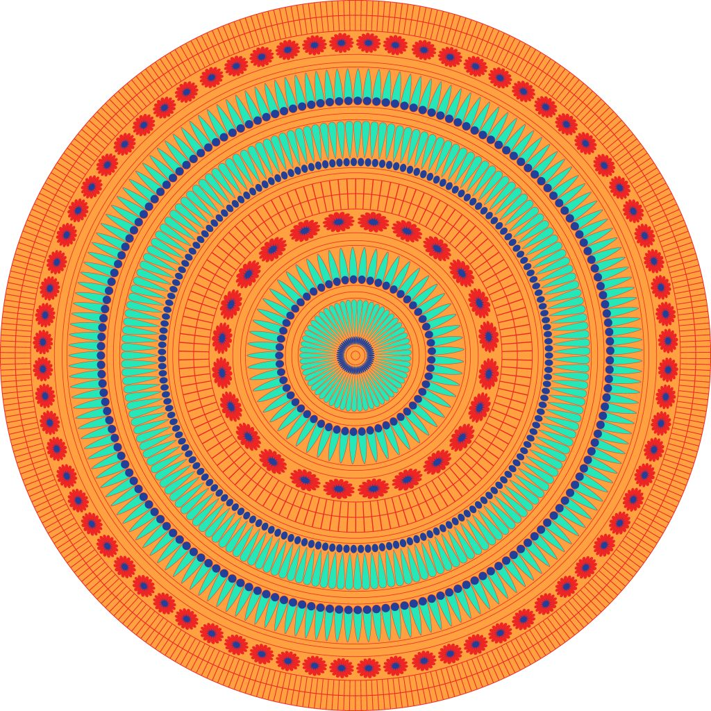 Orange Turquoise Egypt Circle Ornament. National Culture Decorative Ring Artwork.
