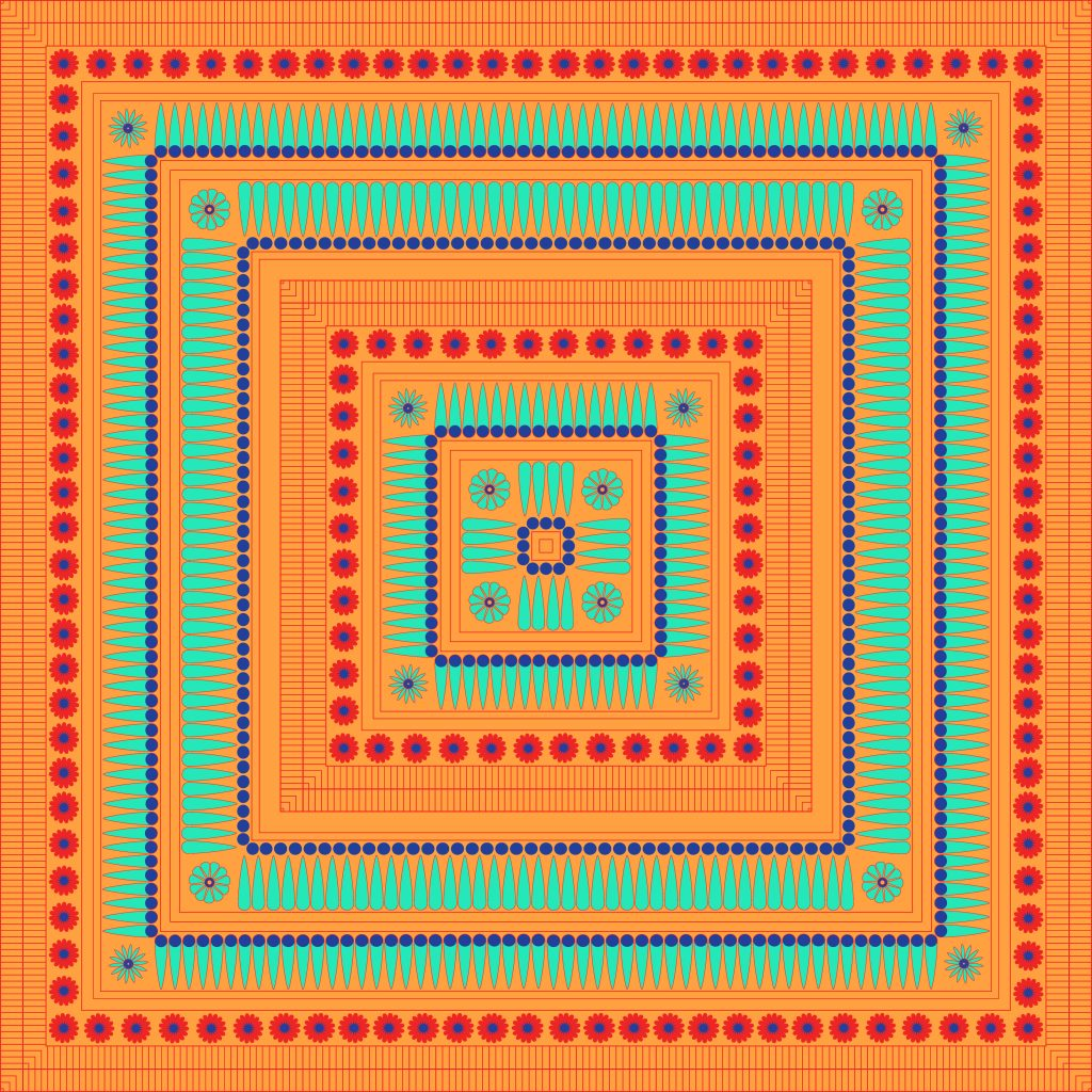 Orange Turquoise Egypt Square Ornament. National Culture Decorative Foursquare Artwork.