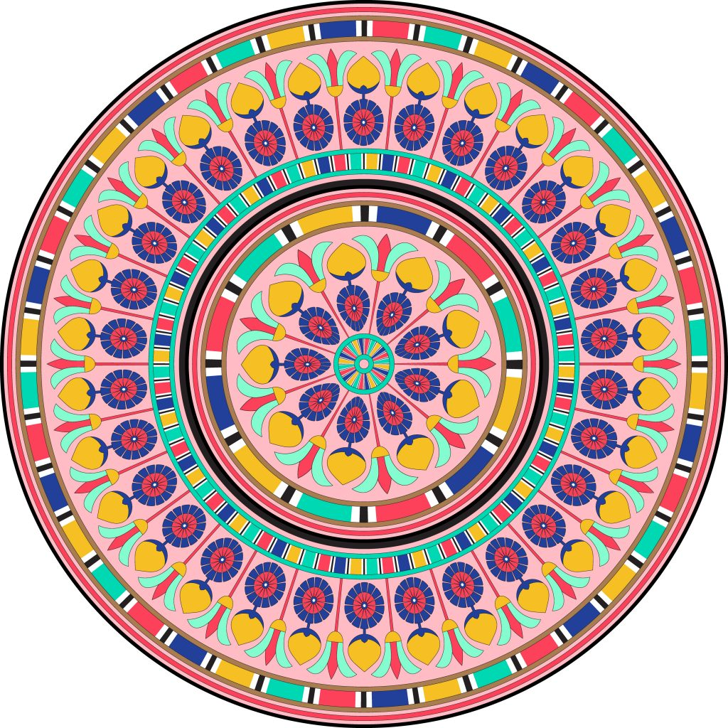 Colored Egypt Circle Ornament. National Culture Decorative Ring Artwork.