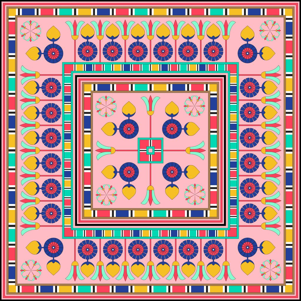 Colored Egypt Square Ornament. National Culture Decorative Foursquare Artwork.