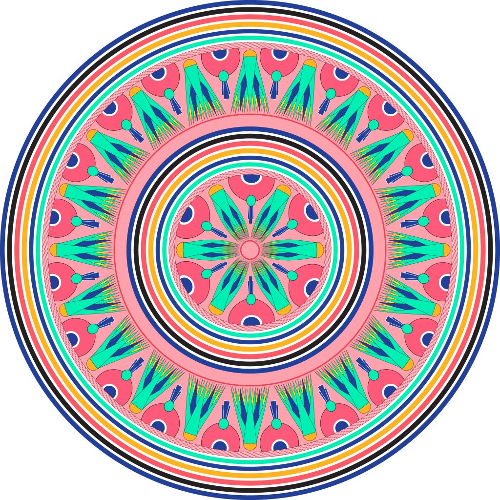 Pink Turquoise Egypt Circle Ornament. National Culture Decorative Ring Artwork.