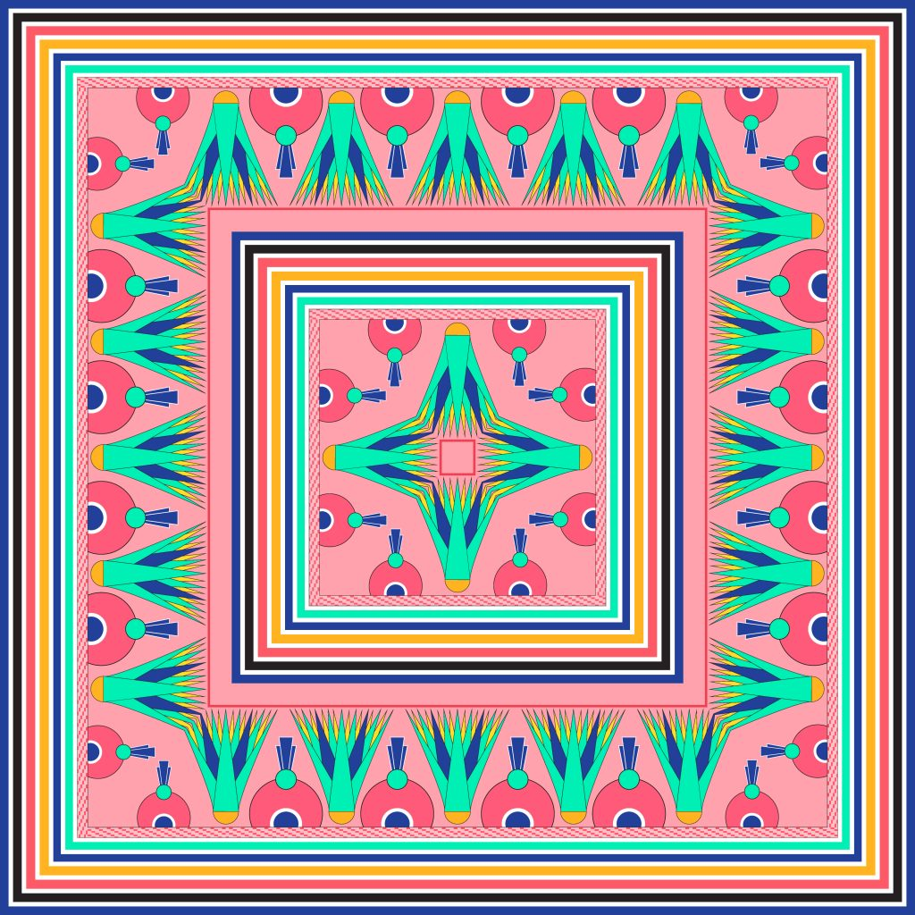 Pink Turquoise Egypt Square Ornament. National Culture Decorative Foursquare Artwork.