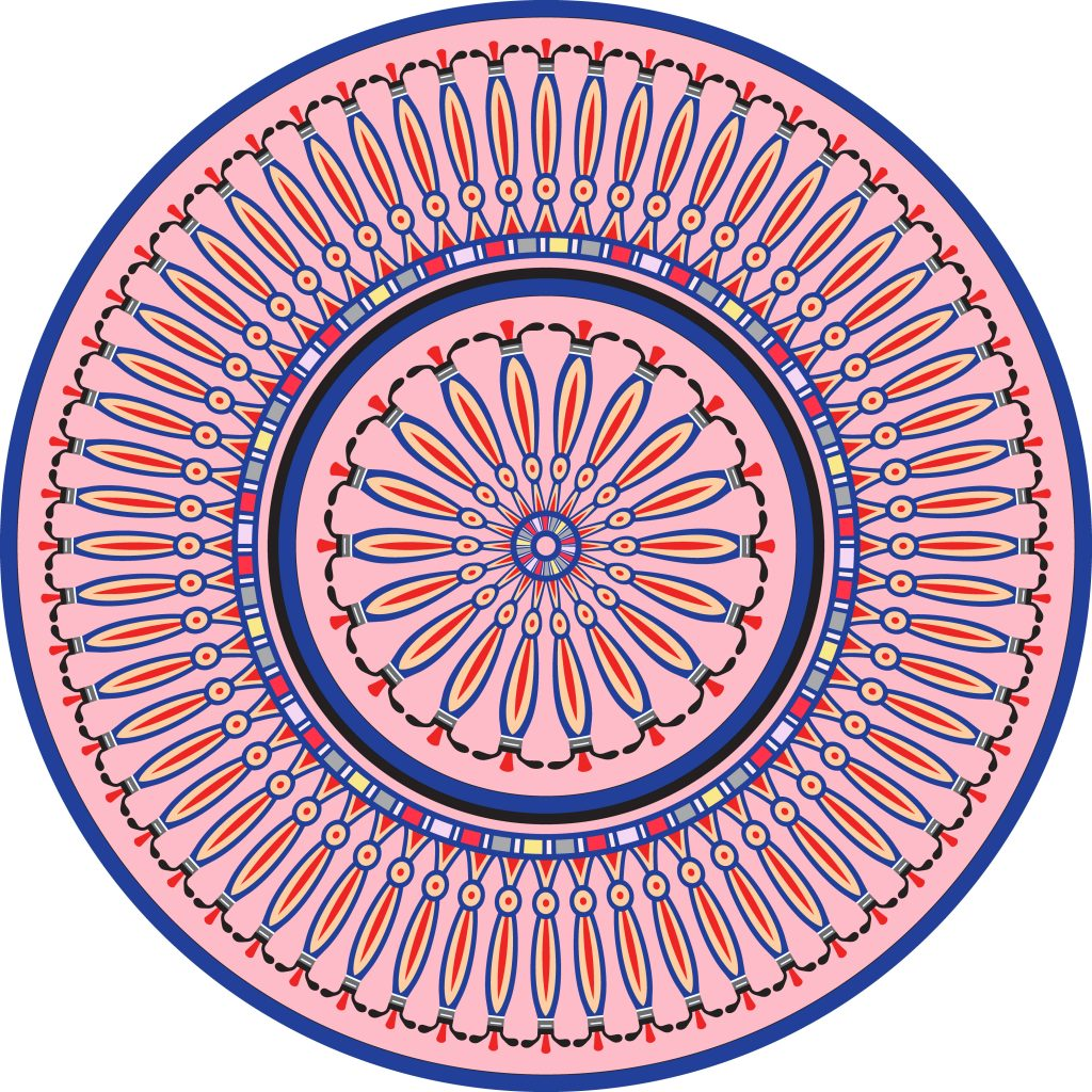 Pink Blue Egypt Circle Ornament. National Culture Decorative Ring Artwork.