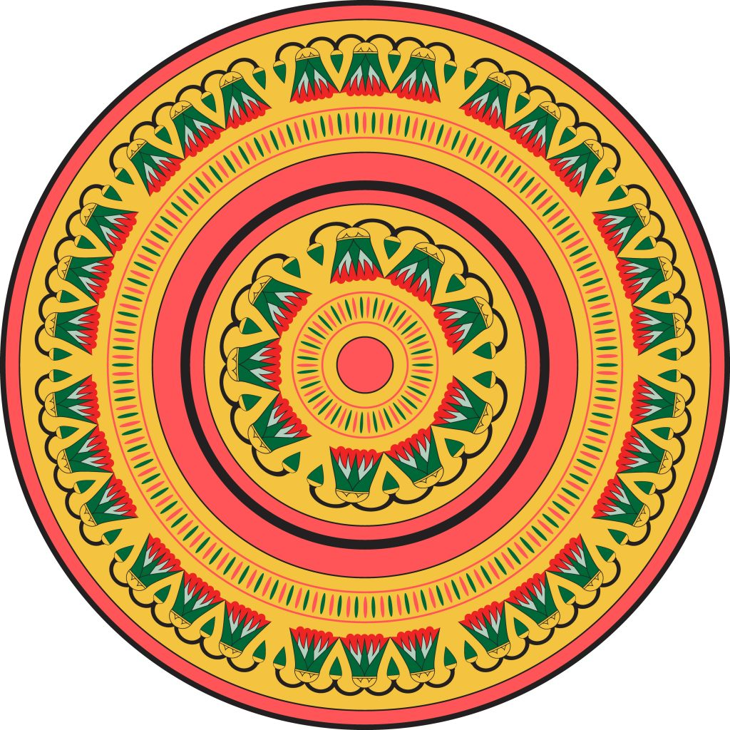 Green Orange Pink Egypt Circle Ornament. National Culture Decorative Ring Artwork.