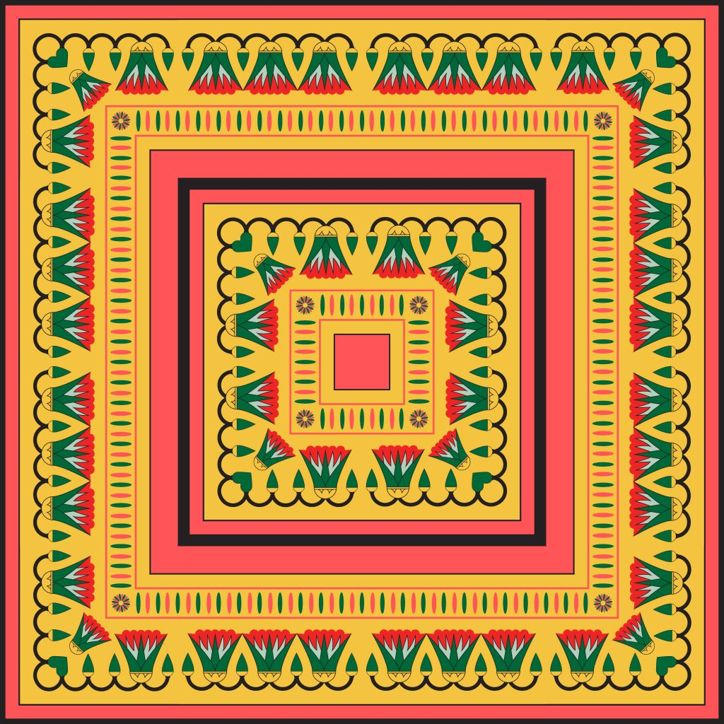 Green Orange Pink Egypt Square Ornament. National Culture Decorative Foursquare Artwork.