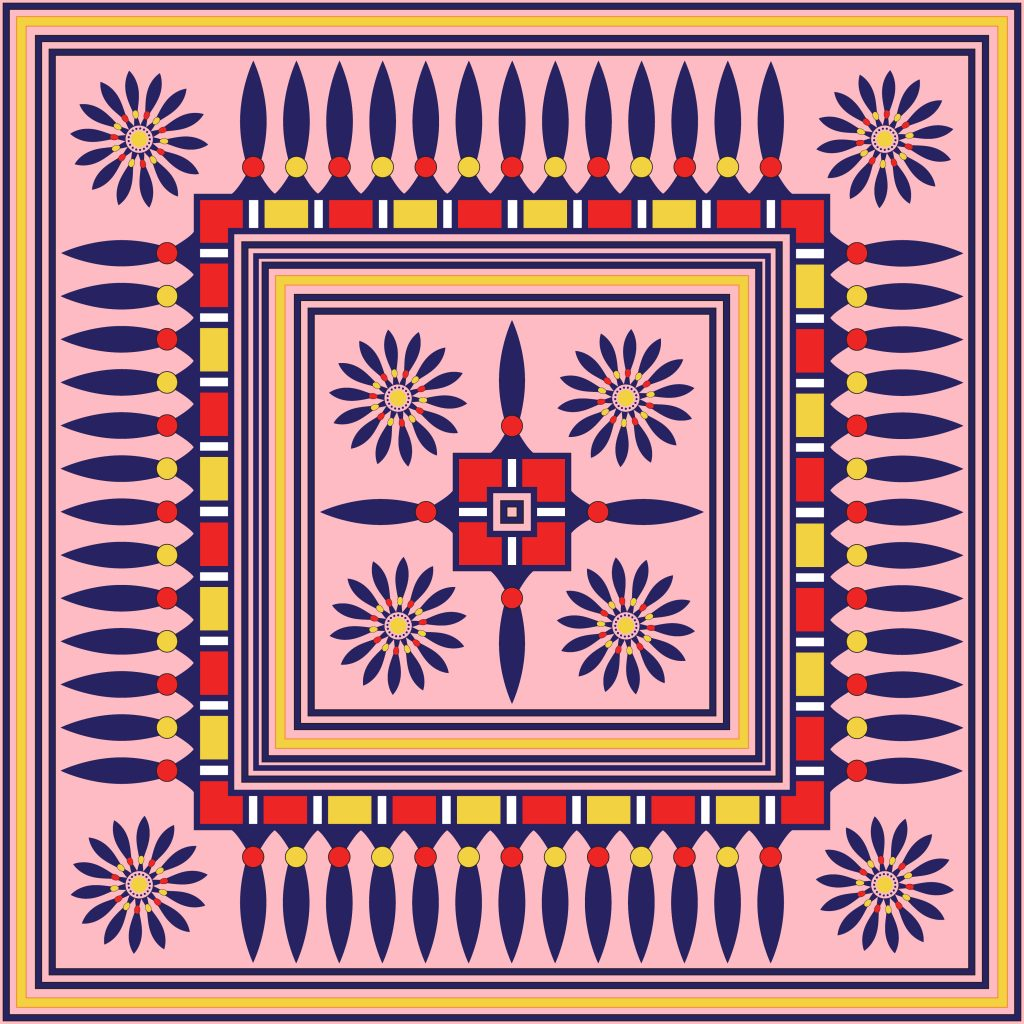Pink Blue Egypt Square Ornament. National Culture Decorative Foursquare Artwork.