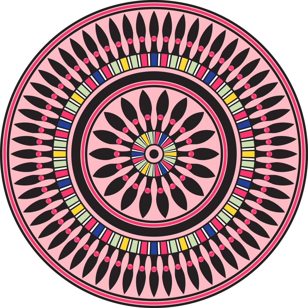 Pink Black Egypt Circle Ornament. National Culture Decorative Ring Artwork.